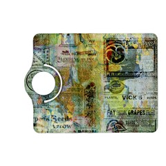 Old Newspaper And Gold Acryl Painting Collage Kindle Fire Hd (2013) Flip 360 Case by EDDArt