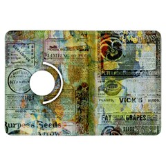 Old Newspaper And Gold Acryl Painting Collage Kindle Fire Hdx Flip 360 Case by EDDArt