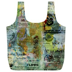 Old Newspaper And Gold Acryl Painting Collage Full Print Recycle Bags (l)  by EDDArt