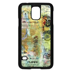 Old Newspaper And Gold Acryl Painting Collage Samsung Galaxy S5 Case (black) by EDDArt