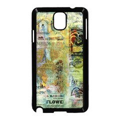 Old Newspaper And Gold Acryl Painting Collage Samsung Galaxy Note 3 Neo Hardshell Case (black) by EDDArt