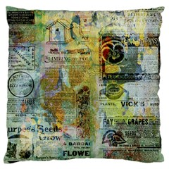 Old Newspaper And Gold Acryl Painting Collage Large Flano Cushion Case (two Sides) by EDDArt