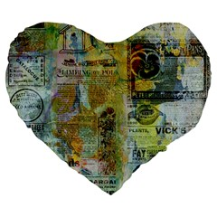 Old Newspaper And Gold Acryl Painting Collage Large 19  Premium Flano Heart Shape Cushions by EDDArt
