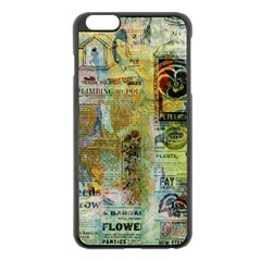 Old Newspaper And Gold Acryl Painting Collage Apple Iphone 6 Plus/6s Plus Black Enamel Case by EDDArt