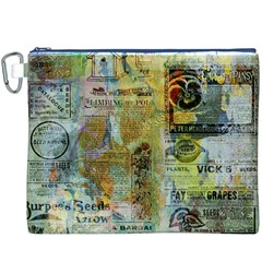 Old Newspaper And Gold Acryl Painting Collage Canvas Cosmetic Bag (xxxl) by EDDArt