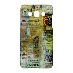 Old Newspaper And Gold Acryl Painting Collage Samsung Galaxy A5 Hardshell Case  by EDDArt