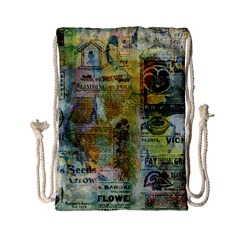 Old Newspaper And Gold Acryl Painting Collage Drawstring Bag (small) by EDDArt
