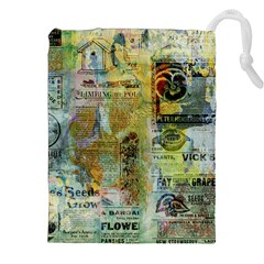 Old Newspaper And Gold Acryl Painting Collage Drawstring Pouches (xxl) by EDDArt