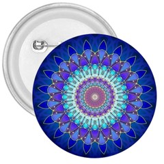 Power Flower Mandala   Blue Cyan Violet 3  Buttons by EDDArt