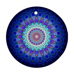 Power Flower Mandala   Blue Cyan Violet Ornament (round) by EDDArt
