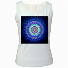 Power Flower Mandala   Blue Cyan Violet Women s White Tank Top by EDDArt