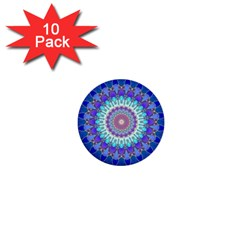 Power Flower Mandala   Blue Cyan Violet 1  Mini Buttons (10 Pack)  by EDDArt