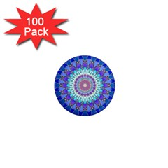 Power Flower Mandala   Blue Cyan Violet 1  Mini Magnets (100 Pack)  by EDDArt