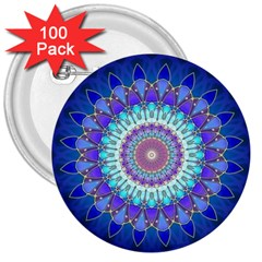 Power Flower Mandala   Blue Cyan Violet 3  Buttons (100 Pack)  by EDDArt