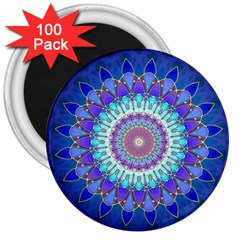 Power Flower Mandala   Blue Cyan Violet 3  Magnets (100 Pack) by EDDArt