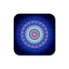 Power Flower Mandala   Blue Cyan Violet Rubber Coaster (square)  by EDDArt