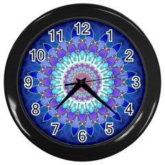 Power Flower Mandala   Blue Cyan Violet Wall Clocks (black) by EDDArt