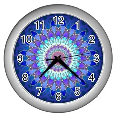 Power Flower Mandala   Blue Cyan Violet Wall Clocks (silver)  by EDDArt