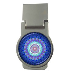 Power Flower Mandala   Blue Cyan Violet Money Clips (round)  by EDDArt