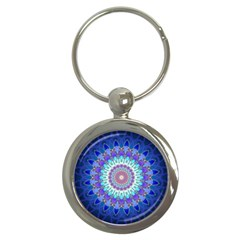 Power Flower Mandala   Blue Cyan Violet Key Chains (round)  by EDDArt
