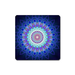 Power Flower Mandala   Blue Cyan Violet Square Magnet by EDDArt