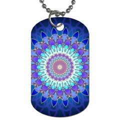 Power Flower Mandala   Blue Cyan Violet Dog Tag (two Sides) by EDDArt