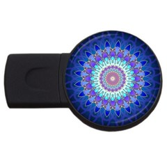 Power Flower Mandala   Blue Cyan Violet Usb Flash Drive Round (2 Gb) by EDDArt