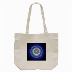 Power Flower Mandala   Blue Cyan Violet Tote Bag (cream) by EDDArt