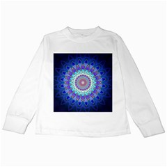 Power Flower Mandala   Blue Cyan Violet Kids Long Sleeve T Shirts by EDDArt
