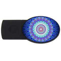 Power Flower Mandala   Blue Cyan Violet Usb Flash Drive Oval (4 Gb) by EDDArt