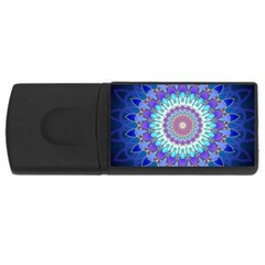 Power Flower Mandala   Blue Cyan Violet Usb Flash Drive Rectangular (4 Gb) by EDDArt