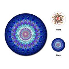 Power Flower Mandala   Blue Cyan Violet Playing Cards (round)  by EDDArt