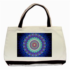Power Flower Mandala   Blue Cyan Violet Basic Tote Bag by EDDArt