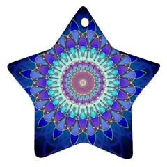 Power Flower Mandala   Blue Cyan Violet Star Ornament (two Sides) by EDDArt