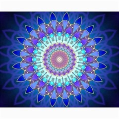 Power Flower Mandala   Blue Cyan Violet Canvas 8  X 10  by EDDArt