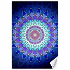 Power Flower Mandala   Blue Cyan Violet Canvas 12  X 18   by EDDArt
