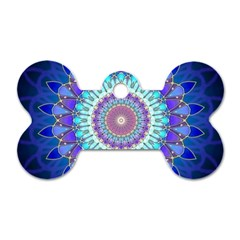 Power Flower Mandala   Blue Cyan Violet Dog Tag Bone (two Sides) by EDDArt