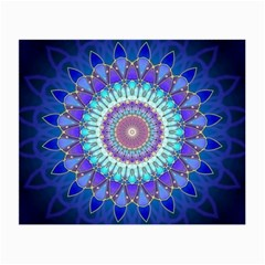 Power Flower Mandala   Blue Cyan Violet Small Glasses Cloth (2 Side) by EDDArt