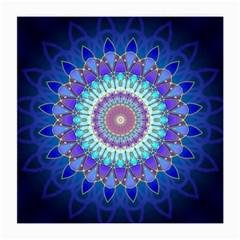 Power Flower Mandala   Blue Cyan Violet Medium Glasses Cloth (2 Side) by EDDArt