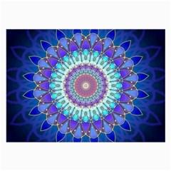 Power Flower Mandala   Blue Cyan Violet Large Glasses Cloth (2 Side) by EDDArt