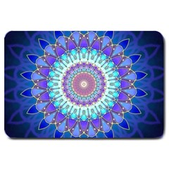Power Flower Mandala   Blue Cyan Violet Large Doormat  by EDDArt