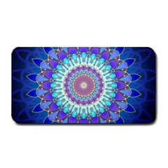 Power Flower Mandala   Blue Cyan Violet Medium Bar Mats by EDDArt