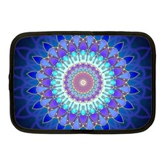 Power Flower Mandala   Blue Cyan Violet Netbook Case (medium)  by EDDArt