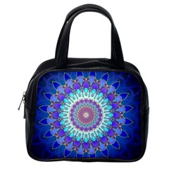 Power Flower Mandala   Blue Cyan Violet Classic Handbags (one Side) by EDDArt