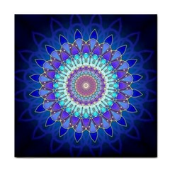 Power Flower Mandala   Blue Cyan Violet Face Towel by EDDArt