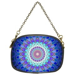 Power Flower Mandala   Blue Cyan Violet Chain Purses (one Side)  by EDDArt