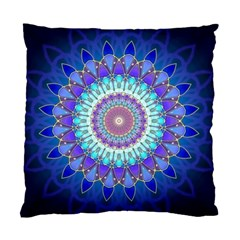 Power Flower Mandala   Blue Cyan Violet Standard Cushion Case (two Sides) by EDDArt