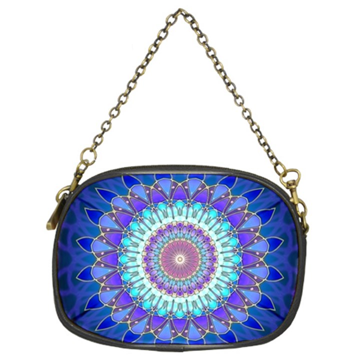 Power Flower Mandala   Blue Cyan Violet Chain Purses (Two Sides)