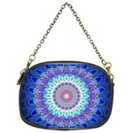 Power Flower Mandala   Blue Cyan Violet Chain Purses (Two Sides)  Back