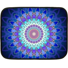 Power Flower Mandala   Blue Cyan Violet Fleece Blanket (mini) by EDDArt